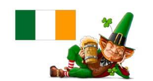 Lutin de la Saint Patrick et drapeau irlandais